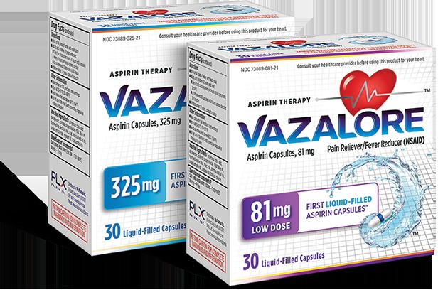 VAZALORE 81 milligram and 325 milligram packages
